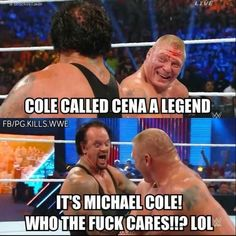 Wwe Funny, Funny Memes, Jokes, Wwe Pictures, Funny Pictures, Funny Pics, Roman Reigns Shirtless, Wrestling Memes, Michael Cole