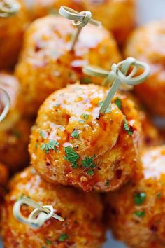 The best way to eat chicken meatballs. It's like eating firecracker chicken sauce on meatballs. Baked not fried so they're healthier and ideal for game day!