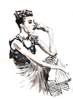 Fashion Illustration, ink and white acrylic. My sister Nelly sketched it from a photo in vogue.