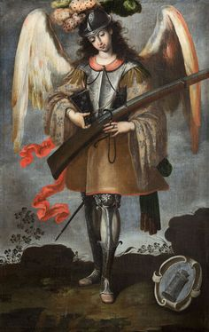 "Anonymous painter from Lima, Arcángel San Miguel, 18th century, oil on canvas, 673⁄4"" x 45"". PARROQUIA DE SANTA MARÍA LA MAYOR, EZCARAY, LA RIOJA, SPAIN"