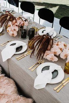 30 Popular Dusty Rose Wedding Ideas dusty rose wedding modern bridal table with orchid anitrawellsphoto Wedding Table Decorations, Wedding Table Settings, Decoration Table, Setting Table, Decor Wedding, Place Settings, Wedding Centerpieces, Wedding Colors, Wedding Flowers
