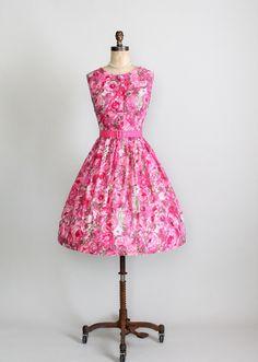 Vintage 1950s pink floral dress