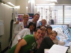 Jessica Capshaw (Arizona Robbins), Chandra Wilson (Miranda Bailey) & Justin Chambers (Alex Karev). Grey's Anatomy BTS.
