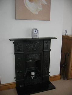 Beautiful Refurbished Victorian Cast Iron Fire Surround & Black Granite Hearth | eBay