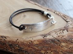 Personalized Medical Alert or ID Bracelet - Fine Silver & Leather For Men & Woman