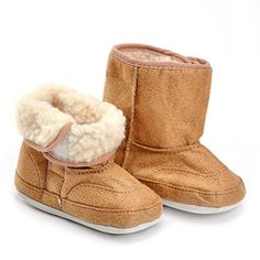 OCEAN-STORE Baby Girls Boys 3-18 Months Knit Soft Fur Winter Warm Snow Boots Crib Shoes