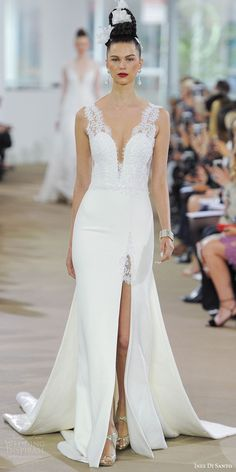 1b47d7f15447 ines di santo spring 2018 bridal sleeveless deep v neck thick lace straps  sheath wedding dress