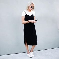 Summer Minimalistic Look- Style yourself with a White Top and a Silk Slip Dress. Similar Style Available at SiiZU Modest Outfits, Modest Fashion, Dress Outfits, Casual Outfits, Dresses, Look Fashion, 90s Fashion, Fashion Outfits, Dress Fashion