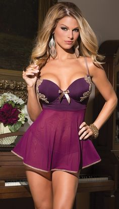Microfiber and Mesh Babydoll with Push Up Cups Mujeres Hermosas c5877f5a608d