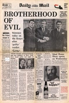 """Brotherhood of Evil. Sentence today on the Krays after """"guilty"""" verdict. Mafia, The Krays, Don Corleone, Front Page News, Vintage Newspaper, Newspaper Headlines, Newspaper Article, Brigitte Bardot, American History"""
