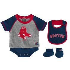 Majestic Boston Red Sox Infant Navy Blue Little Player Creeper, Bib & Bootie Set