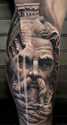 Zeus Tattoo-Made by Arlo DiCristina Tattoo Artists in Colorado, US Region Zeus Tattoo, Statue Tattoo, Hercules Tattoo, Poseidon Tattoo, Best Sleeve Tattoos, Leg Tattoos, Black Tattoos, Body Art Tattoos, Gott Tattoos