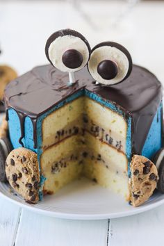 Cookie Monster Cake with sour cream pound cake cookie dough filling