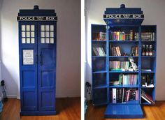 tardis out of doctor who, book shelf. I love the book shelf part and my boyfriend likes the tardis part, a good compromise The Tardis, Tardis Door, Tardis Blue, Tardis Bookshelf, Bookshelf Closet, Creative Bookshelves, Bookshelf Ideas, Book Shelves, Bookshelf Plans