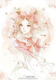 花与鹿-清茗_插画,原创,小清新,水彩,少女,清新_涂鸦王国插画
