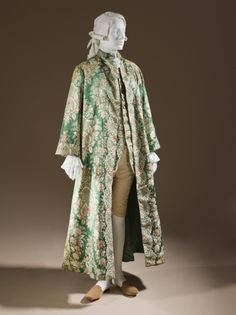 Man's At-home Robe (Banyan) and Waistcoat France, circa 1720 Costumes; ensembles Silk satin with silk supplementary-weft patterning a) Robe center back length: 29 in. b) Waistcoat center back length: 55 in. 18th Century Dress, 18th Century Clothing, 18th Century Fashion, Historical Costume, Historical Clothing, Vintage Outfits, Vintage Fashion, Rococo Fashion, Edwardian Fashion