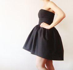 Black Cotton #Dress, Tulle Petticoat included, Little Black Dress, Asymmetrical Black dress, party dress - boned bodice dress - Made to order