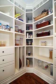 Contemporary Pantry with OXO 10-Piece Good Grips Pop Containers Set, World Market - Madras Storage Baskets, Hardwood floors