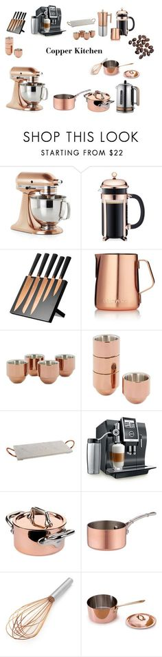 Copper Kitchen by bridier on Polyvore featuring interior, interiors, interior design, home, home decor, interior decorating, Crate and Barrel, Jura, Bodum and Mauviel