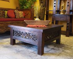 Square Carved Panel Teak Coffee Table & Carved Daybed from GadoGado.com.  Indonesian / Bali Furniture