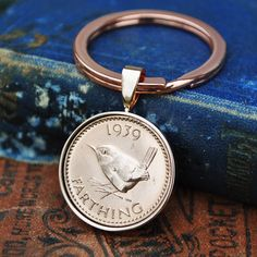 1939 80th Birthday Farthing Birth Year Keyring - 80th Birthday - Coin Keyring Mens Ladies  Birthday Anniversary Present Gift