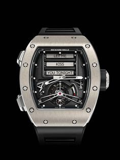 """@richardmilleeu RM 69 Erotic Tourbillon features a rotating display of seductive """"naughty talk,"""" with random but carefully chosen words and phrases inscribed on three grade 5 titanium rollers, the highlight of Richard Mille's new """"Oracle"""" complication. (Limited edition of 30 pieces; retails for $750,000.) For the full story, visit: http://www.watchtime.com/wristwatch-industry-news/watches/the-mechanical-art-of-seduction-richard-mille-rm-69-erotic-tourbillon/ #richardmille #watchtime…"""