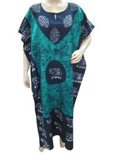 GYPSY NEW COTTON CAFTAN BATIK ELEPHANT PRINT BLUE KAFTAN LONG MAXI DRESS ONESIZE