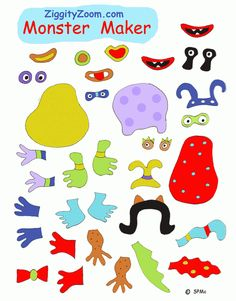 Monster Maker activity ... print on magnetic pages for a fun Monster Making playtime ... | Ziggity Zoom