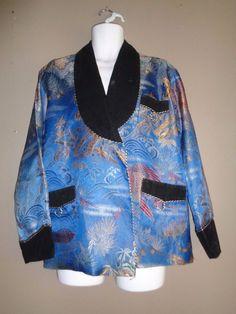 VTG 50s CHINESE silk brocade VELVET LAPEL SMOKING JACKET BLAZER MEDIUM #Joli…