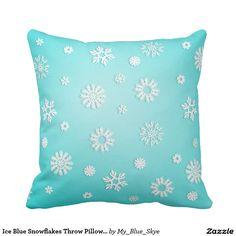 """Ice Blue Snowflakes Throw Pillow 16"""" x 16"""". #winterdecor #christmasdecor #holidaydecor #pretty #pillows"""
