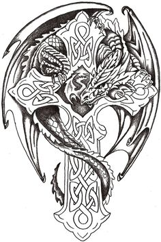 Dragon Lord Celtic by ~TheLob on deviantART  (Isn't this a drawing of Anne Stokes dragon on a cross?)