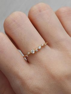 Diamond Cluster Ring Twig Engagement Ring Floral Unique Wedding Band Snowflake Yellow Gold Dainty Flower Mini Tiny Anniversary Promise gift - List of the best jewelry Diamond Cluster Ring, Diamond Bands, Diamond Wedding Bands, Solitaire Diamond, Tiny Diamond Ring, Cute Rings, Unique Rings, Beautiful Rings, Floral Engagement Ring
