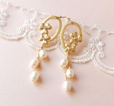 Fragrant Floral Rain Earrings . freshwater pearls . bridal jewelry by CocoroJewelry on Etsy