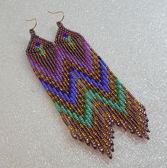 Aretes de perlas de estilo largo indio estilo tribal estilo