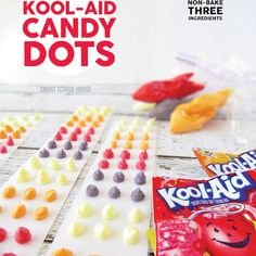 Kool-Aid Candy Dots l Smart School House Kool Aid, Yummy Treats, Delicious Desserts, Sweet Treats, Yummy Food, Cake Pops, Fudge, Easy Candy Recipes, Easy Diy Candy