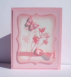 handmade card ... monochromatic pink ... Serene Sihouettes ... butterfly ... stitching ... Stickles ... a pearl ... charming!! ...Stampin' Up!