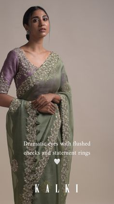 Sage green saree in organza silk with floral embroidery. Adorned with sequins, zari and zardozi embellished floral buttis and border. Saree Designs Party Wear, Bridal Blouse Designs, Saree Blouse Designs, Dress Designs, Zardozi Embroidery, Floral Embroidery, Indian Designer Outfits, Indian Designer Sarees, Pom Poms