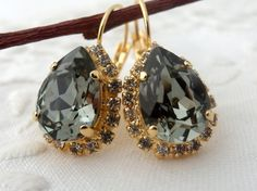Smokey Gray black diamond crystal Swarovski by EldorTinaJewelry, $48.00
