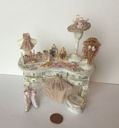 Handmade DollHouse Miniature 1:12 scale Ladies dressed accessorised shabby chic dressing table by Miniaturefrills on Etsy