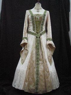 Cream Velvet medieval dress with Green Braid
