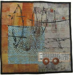 Jennifer Solon   Preparing to Launch - Mixed media collage with hand-dyed cotton fabric, polymer clay. 12in. x 12in.