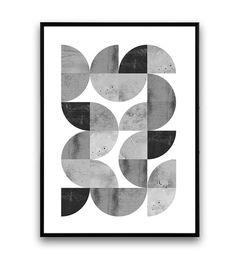Minimalist abstract print geometric art print van Wallzilla op Etsy