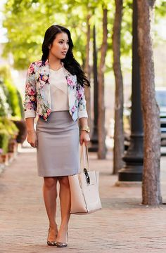 cute & little blog | petite fashion | asos petite floral cropped jacket, white chiffon blouse, j.crew light gray pencil skirt, initial necklace | spring outfit
