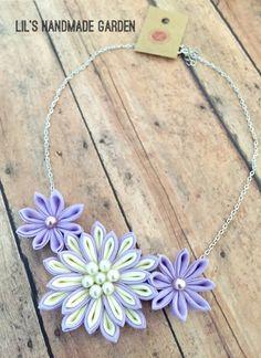 Kanzashi Flower Statement Necklace Lavender/ by LilsHandmadeGarden