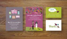 Custom Illustrated Wedding Invitations via Etsy