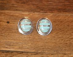 Sterling Silver Southwestern  Zuni Style Turquoise Inlay Oval Post Earrings plus Free USA Shipping! by Route66Diner on Etsy