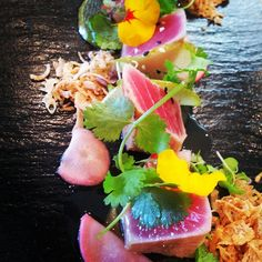 Tuna, coriander, shallot, compressed pear, nim jam, pickled radish. Delights from the kitchen.  #elephanthill #foodexperience #finedining #theartofplating #wineanddine #picoftheday