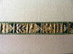 EMBROIDERED BANDS 14th The medieval rooms and the textile room ,V&A, London     Silk embroidery on linen