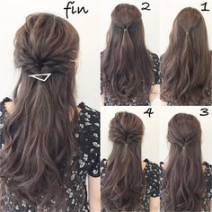 Call me ♡ Hair arrangements that can show off at the wedding ceremony Work Hairstyles, Elegant Hairstyles, Pretty Hairstyles, Braided Hairstyles, Medium Hair Styles, Curly Hair Styles, Hair Arrange, Hair Dos, Hair Hacks