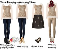 7 Easy Ways to Use Visual Grouping to Coordinate Colours - what colour shoes to wear - what are you options depending on what you're wearing.